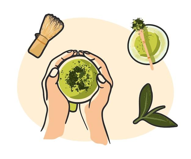 Зеленый чай матча, чаша порошка матча, деревянная ложка и венчик, лист зеленого чая, изолированные на белом фоне. вид сверху, плоская планировка Premium векторы