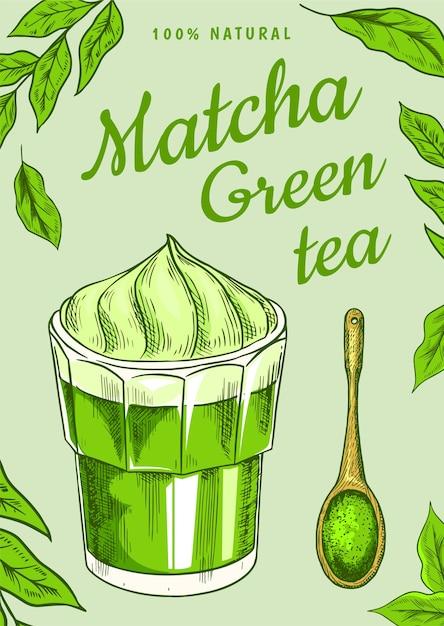 Плакат с зеленым чаем матча с листьями Premium векторы