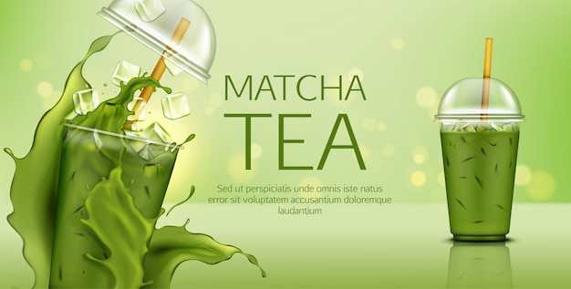 Matcha green tea with ice cubes in takeaway cup Free Vector