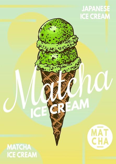 Плакат с японским мороженым матча Premium векторы
