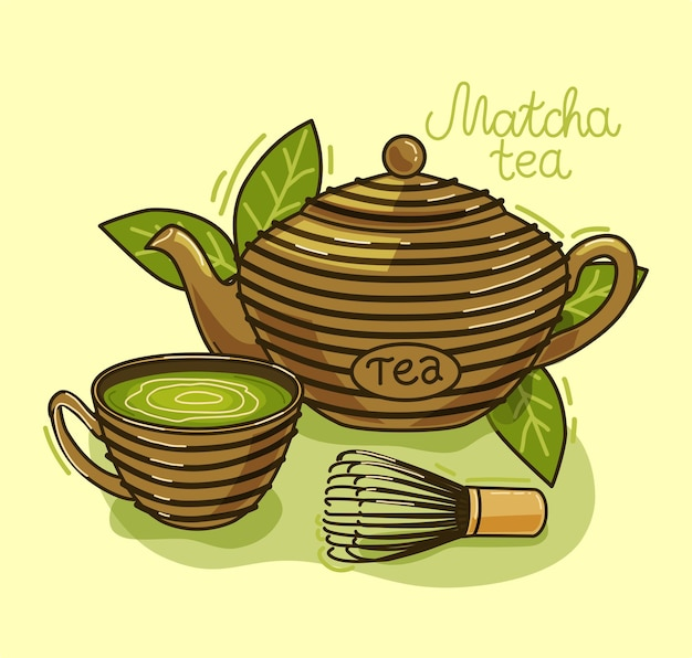 Чай матча - азиатский напиток. чайник, чай матча, чашка. иллюстрация. Premium векторы