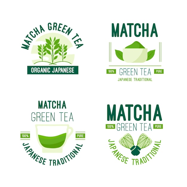 Matcha tea badge collection concept Free Vector