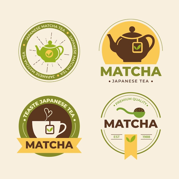 Matcha tea badges collection Free Vector