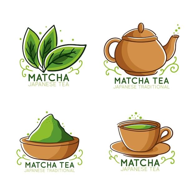 Matcha tea badges concept Free Vector