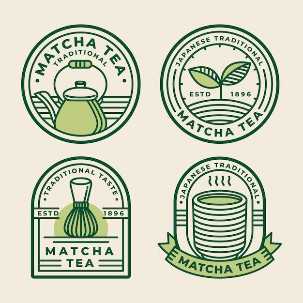 Концепция чайных значков матча Бесплатные векторы