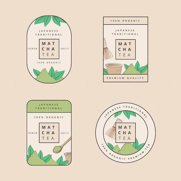 Insieme dell'illustrazione dei distintivi del tè di matcha Vettore gratuito