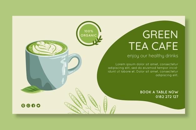 Modello di banner di tè matcha Vettore gratuito
