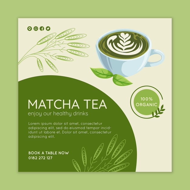 Matcha tea banner template Premium Vector