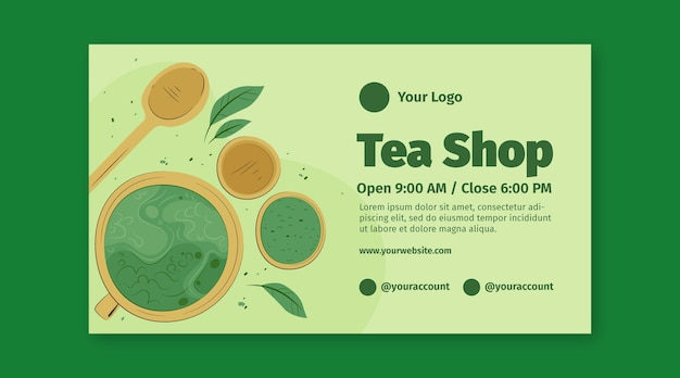 Matcha tea banner template Free Vector