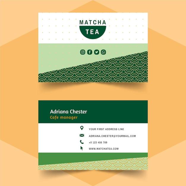 Matcha tea business card template Free Vector