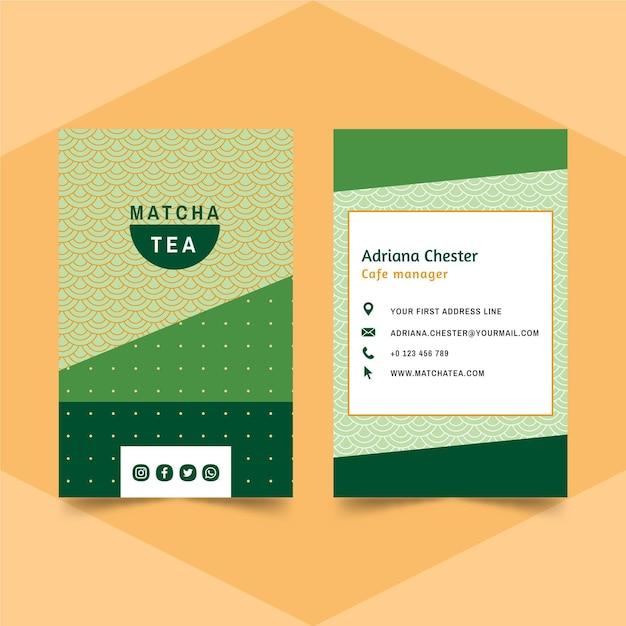 Matcha tea business card Free Vector