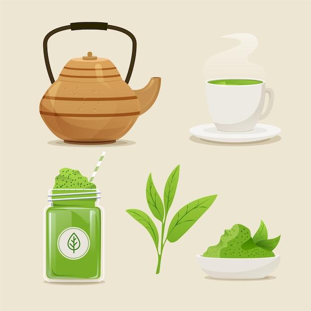Matcha tea collection concept Free Vector