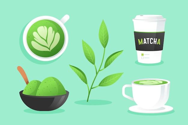 Matcha tea collection illustration Free Vector