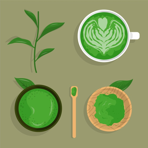 Matcha tea collection Free Vector