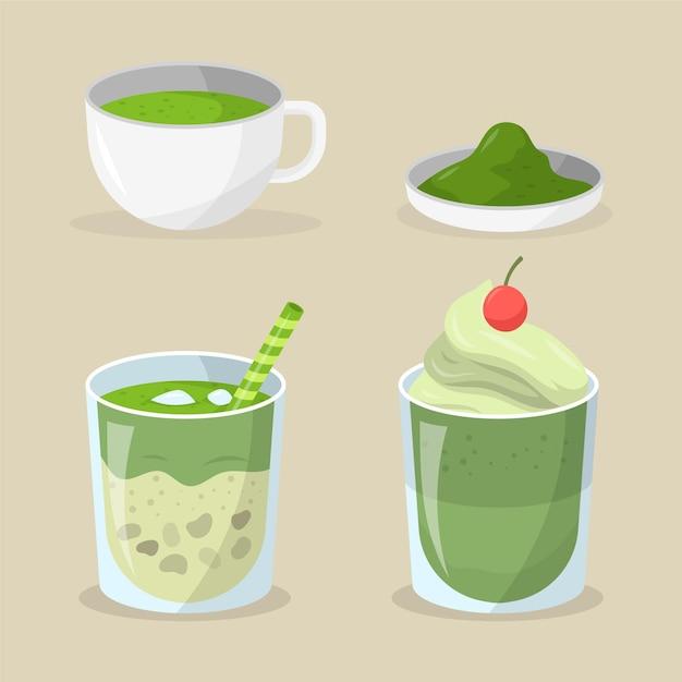 Matcha tea collection Free Vector