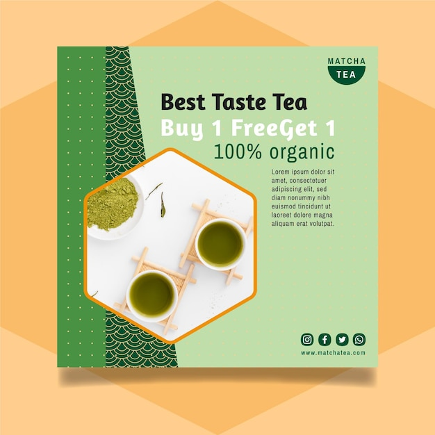 Matcha tea flyer design Free Vector