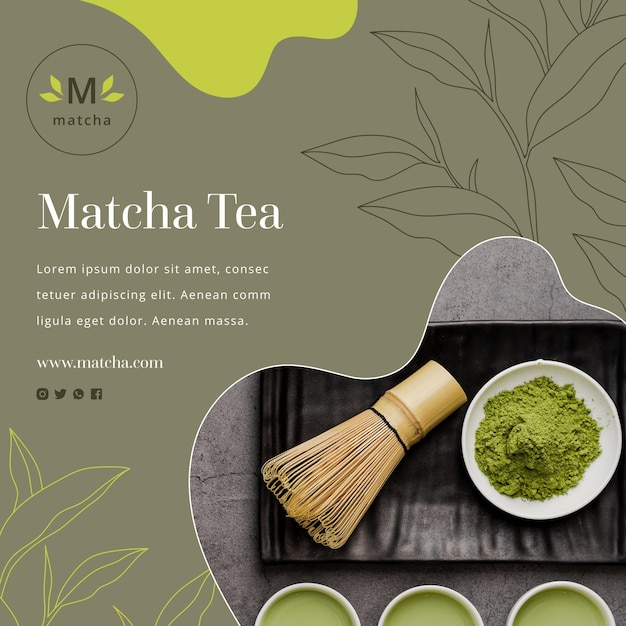 Matcha tea flyer square Free Vector