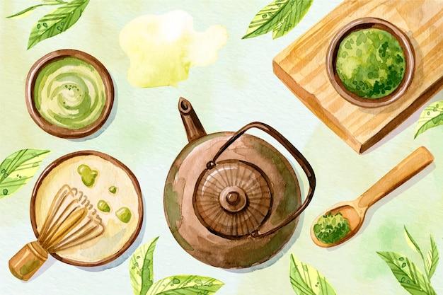 Matcha tea hand drawn background Free Vector