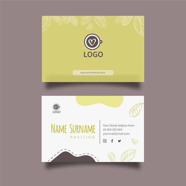 Matcha tea horizontal business card template Premium Vector