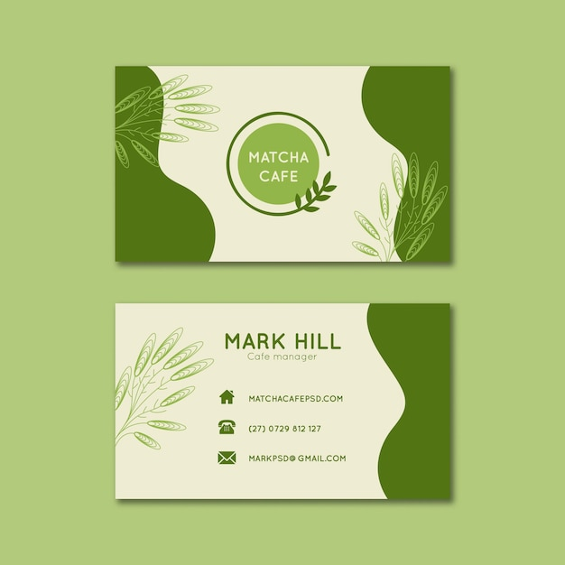 Matcha tea horizontal business cards template Free Vector