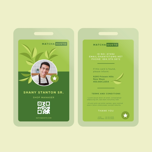Matcha tea id card template Free Vector