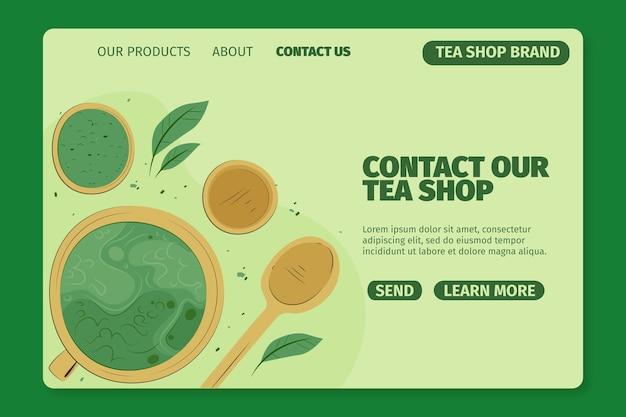 Matcha tea landing page template Free Vector