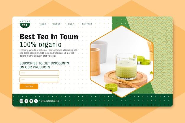 Matcha tea landing page Free Vector
