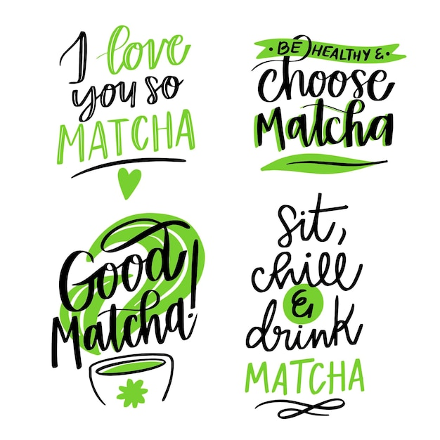 Matcha tea - lettering collection Free Vector