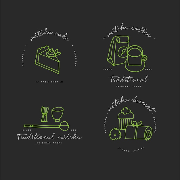 Matcha tea linear design elements, set of matcha products emblems, symbols, icons or tea, coffee or dessert labels and badges collection. matcha signs template or logo Premium Vector