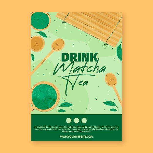 Matcha tea poster template Free Vector