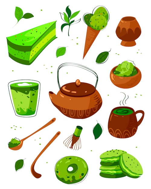 Matcha tea products. matcha powder, latte, macarons, tea pot, bamboo spoon, tea leaves. matcha green tea powder and equipment hand drawn illustrations set. japanese traditional drink vector Premium Vector