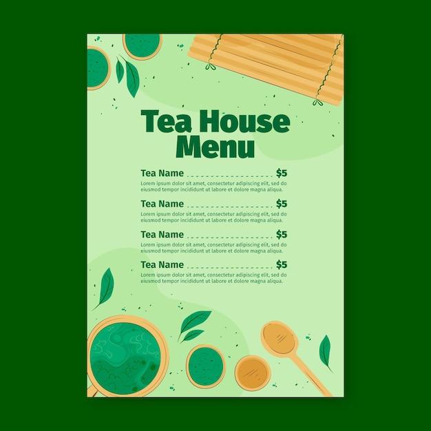 抹茶レストランメニューテンプレート 無料ベクター