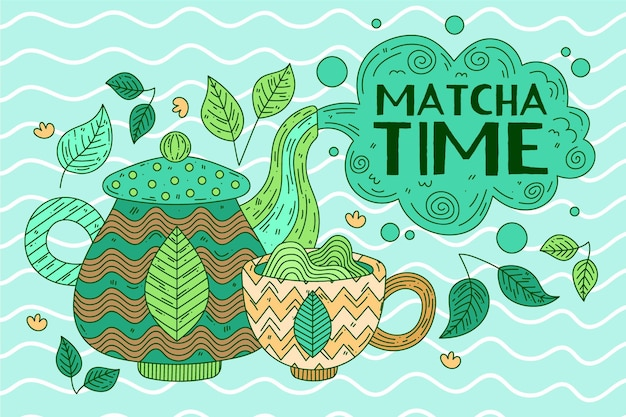 Matcha tea wallpaper Free Vector