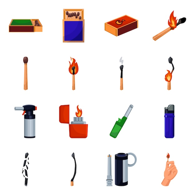 Matchbox and matchstick  cartoon icon set. isolated illustration e-cig, lighter,box and match.icon set of matchstick equipment for smoking . Premium Vector