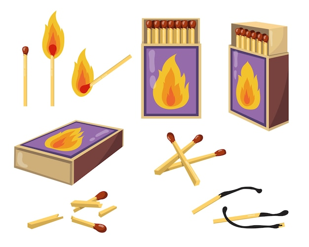 Matches and matchboxes flat illustration set. cartoon burnt matchsticks with fire and opened boxes for wood matches isolated vector illustration collection. heat and design concept Free Vector
