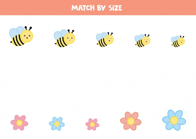 미취학 아동을위한 매칭 게임. 꿀벌과 꽃. 프리미엄 벡터