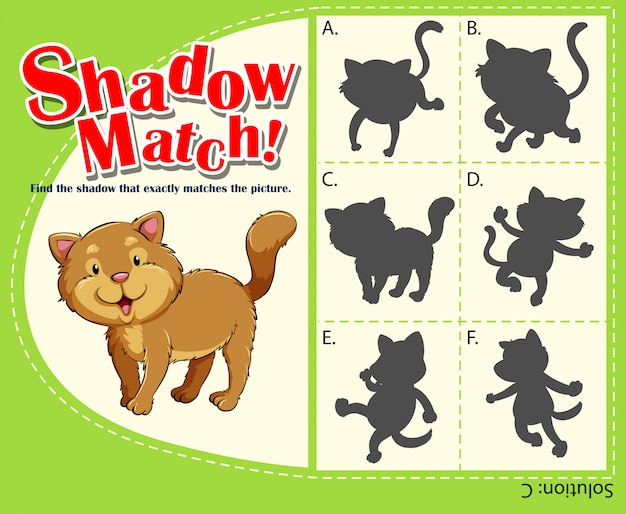 Matching game template with cat Free Vector