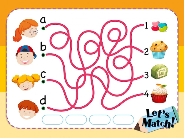 Matching game template with kids and desserts Free Vector