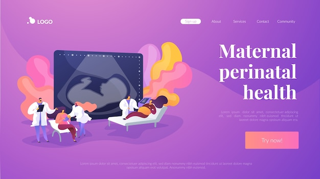 Maternal perinatal health landing page template Free Vector