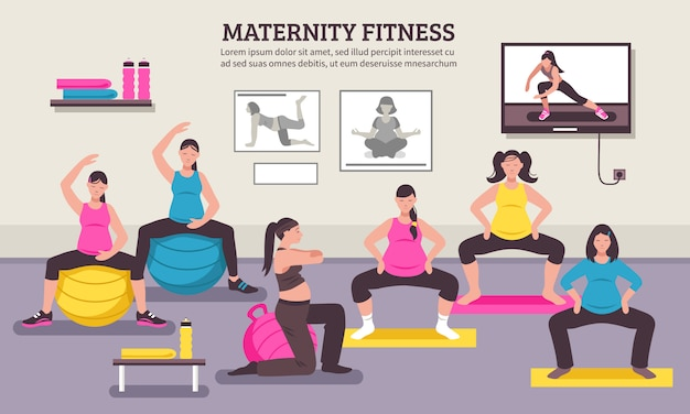 Maternity fitness class flat poster Free Vector