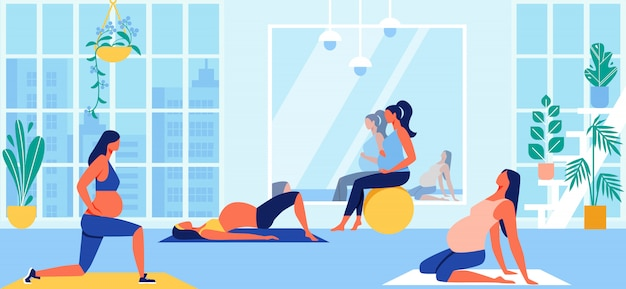 Maternity group fitness class for pregnant women Premium Vector