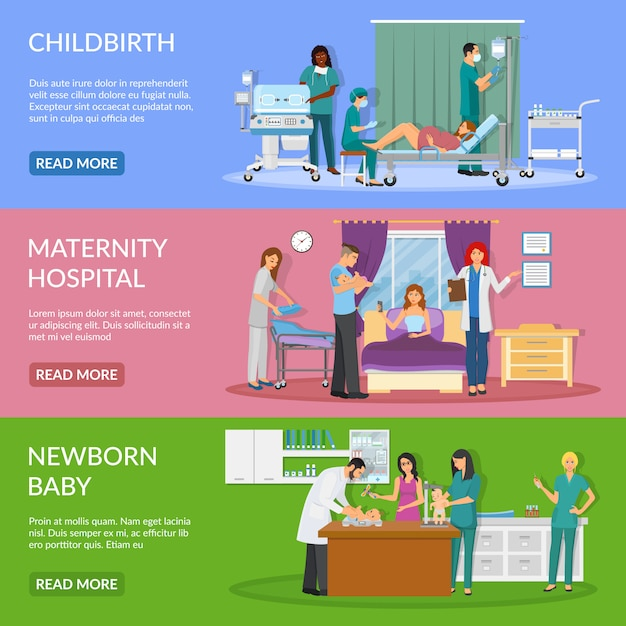 Maternity hospital horizontal banners Free Vector