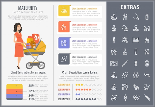 Maternity infographic template, elements and icons Premium Vector