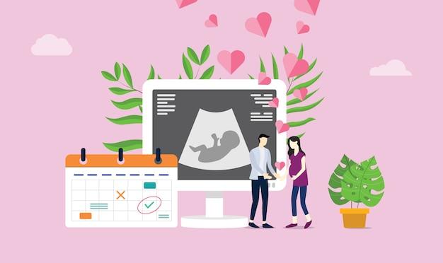 Maternity or pregnancy happy couple Premium Vector