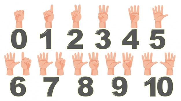 Math count finger gesture Premium Vector