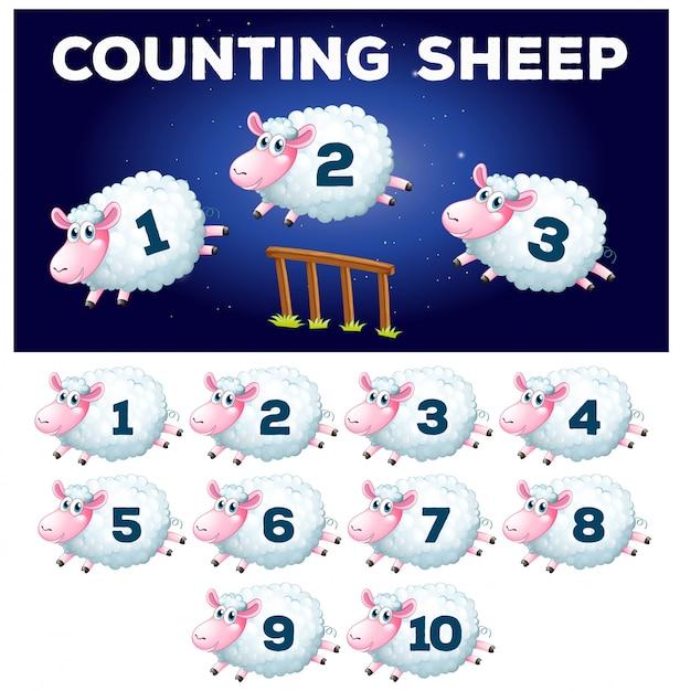 A math counting sheep Premium Vector