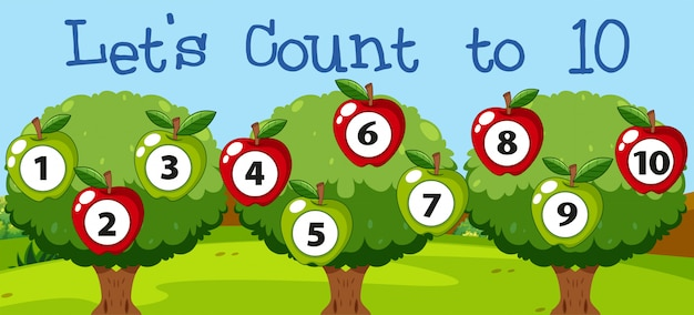 Math couting apple to ten Free Vector