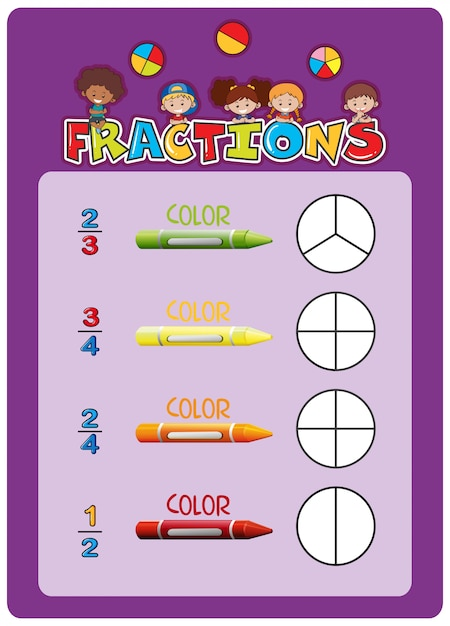 A math fractions worksheet Premium Vector