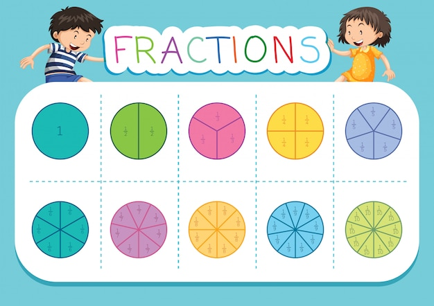 A math fractions worksheet Premium Vector