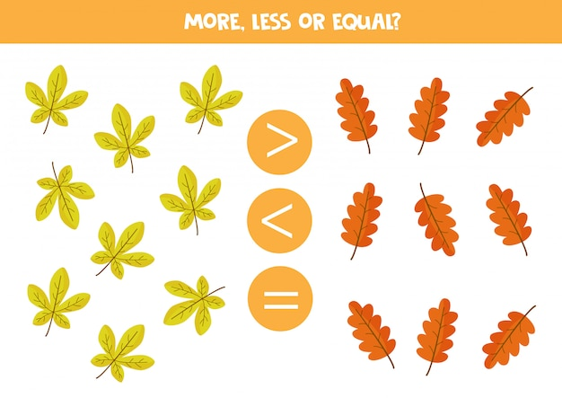 Math game for kids, more, less or equal with autumn leaves. Premium Vector